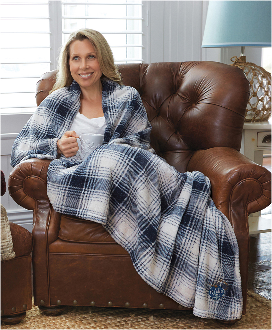 Cabin-throw-blue-plaid-with-model